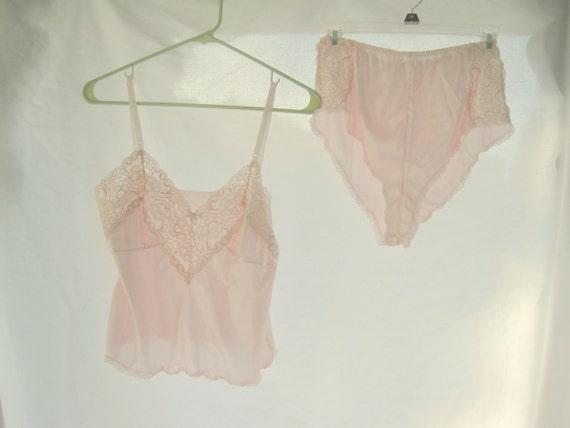 Vintage Pink Camisole Underwear Set Size M