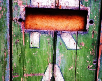 Painted Green Door With Lettering, Fine Art Photography Print, Urban Photography,  Unique Home Decor, Shabby Chic, Wall Art, Photo Prints