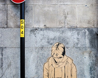 Red Stop Sign, Grey Concrete Wall, Fine Art Photography Print, Urban Graffiti, Urban UK,  Unique Home Decor, Urban Wall Art, Photo Prints