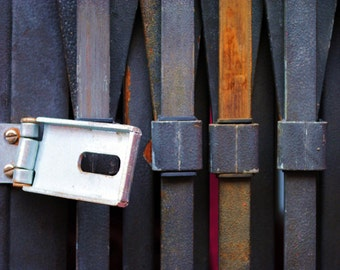 Black Metal Shutter With Opened Lock and Pink, Fine Art Photography Print, Manchester, Urban Photography,  Unique Home Decor, Urban Wall Art