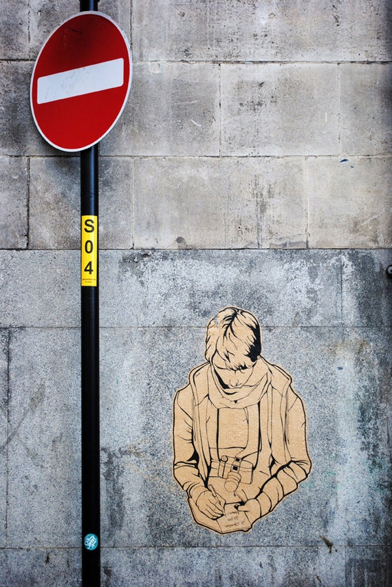 Red Stop Sign, Grey Concrete Wall, Fine Art Photography Print, Urban Graffiti, Urban UK,  Unique Home Decor, Urban Wall Art, Photo Prints
