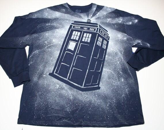 SALE - Men's Doctor Who Tardis Long Sleeved Navy Blue Shirt - Size XXL