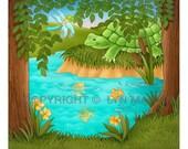 Turtle's Big Race  original children's book illustration