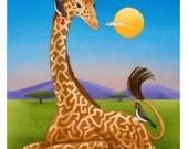 Giraffe Maze   original illustration