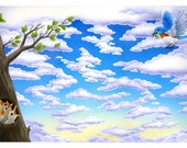 Bluebird maze giclee print