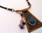 Artisan Handcrafted Blue Apatite Copper Pendant Necklace