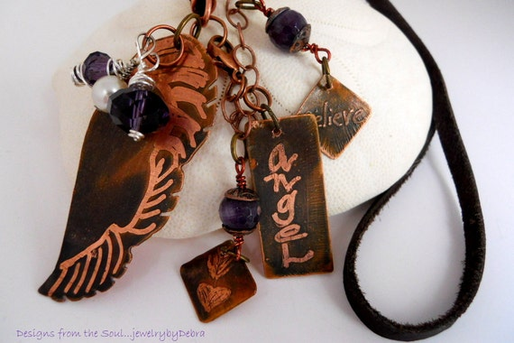 Valentines Day Etched Copper Angel Wing Necklace