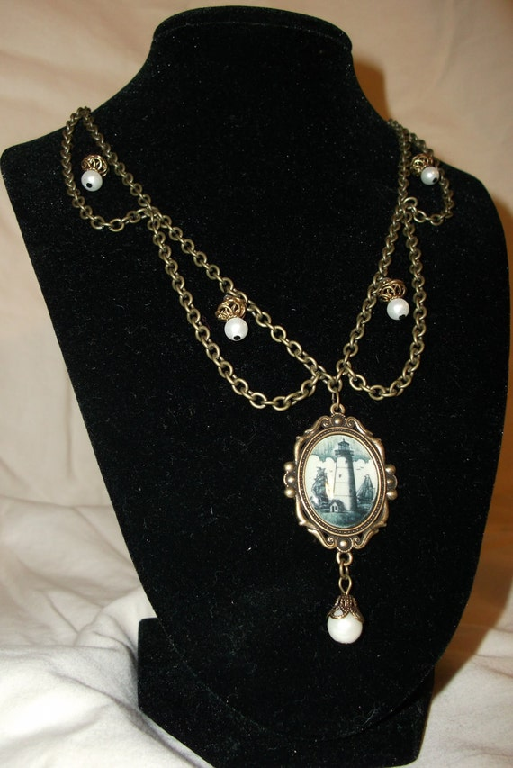 Brass Chain Lighthouse Pearl Necklace