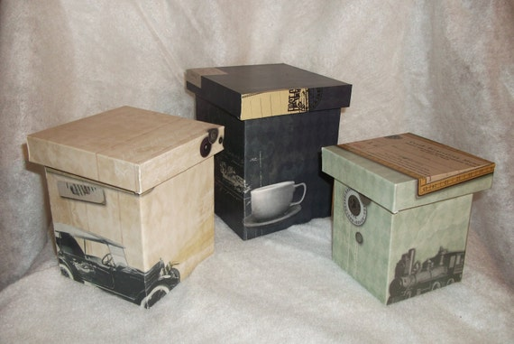 Antique/Steampunk Print Nesting Decorative/Gift Boxes