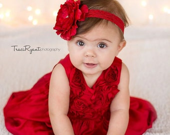 Large red flower headband on lace elastic with large center embellishment. Newborn, toddler, child, teen, adult