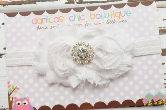 Double white shabby flower fancy headband. Baptism, flower girl, Christening. Infant, toddler, child, adult sizes