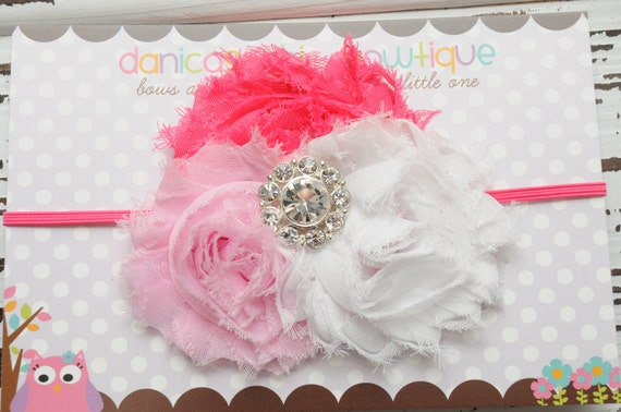 Dark pink, light pink and white shabby headband with a fancy center embellishment. Infant, toddler, child, adult sizes