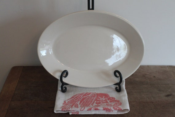 Small and Medium Vintage White Ironstone Platters set of 2 - Reserved for Sarah
