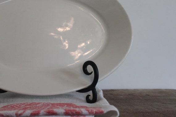Medium Vintage White Ironstone Platter set of 2- Reserved for Sarah