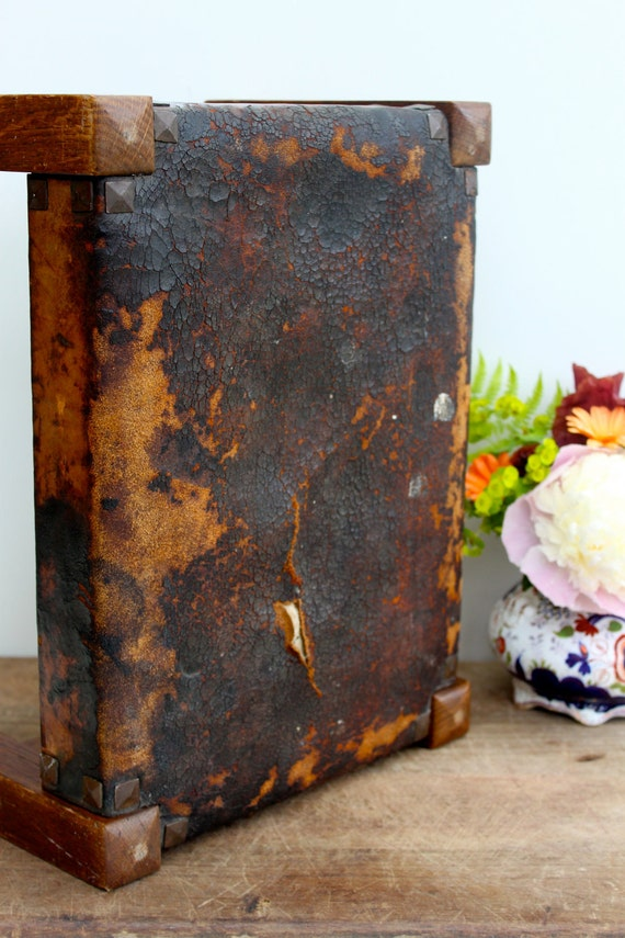 Vintage leather covered prayer and foot stool