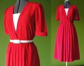 RESERVED for Damielle // Vintage 1980s 40s Style Red Day Dress Size 8 to 12 Medium