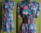 Vintage Blue Teal Pink and Purple Floral Shirt Waist Day Dress Size 8 to 12 Medium Large
