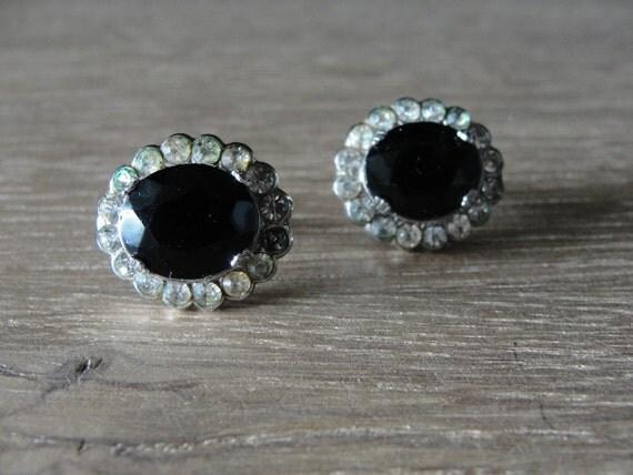 Vintage Black Onyx and Rhinestone on Silver Tone Earrings