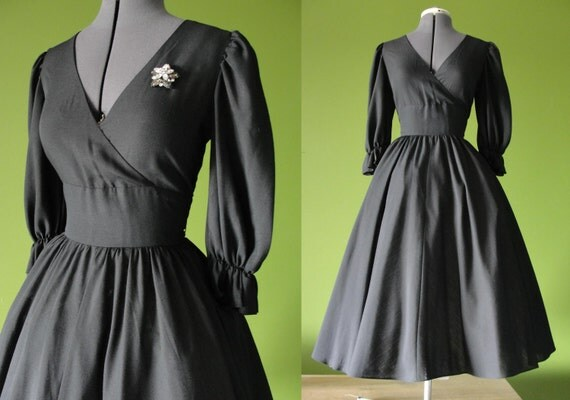 Vintage 1980s 50s Style Black JANE SCHAFFHAUSEN Belle France Party Dress with Full Swing Circle Skirt Size 8 to 10 Medium