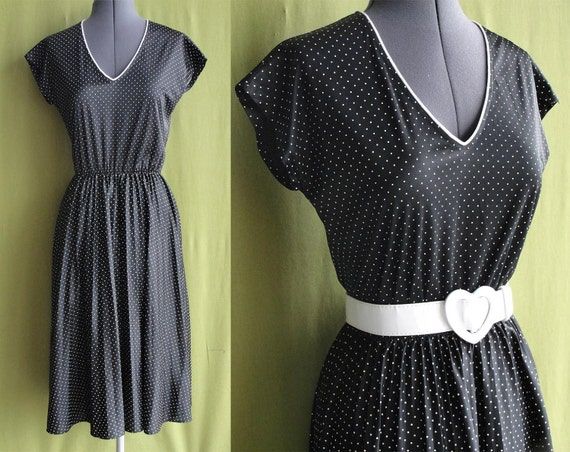 Vintage 1980s 50s Style Black with White Polka Dot Rockabilly Pin Up Swing Dress Size 8 to 10 Medium