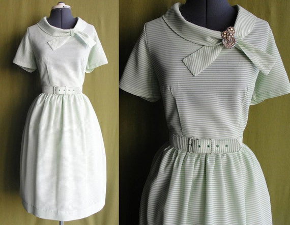 Vintage 1960s Mint Green and White Sheer Striped Day Dress with Full Skirt Size 14 Large
