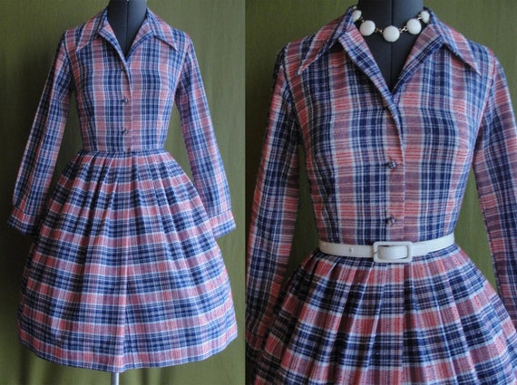 Vintage 1950s Blue Red and White Picnic Plaid Day Dress with Full Swing Skirt Size 8-10 Medium