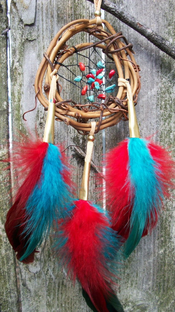 Dream Catcher Turquoise and Carnelian Small