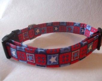Handmade Adjustable Cotton Dog Collar Red White Blue Stars Patriotic