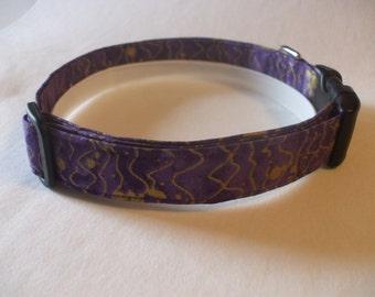 Handmade Cotton Dog Collar Purple and Gold