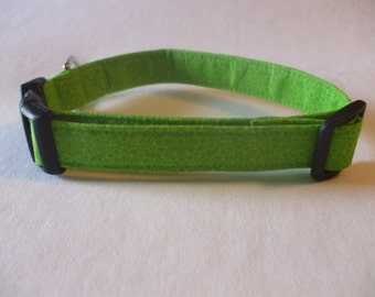 Handmade Cotton Dog Collar Lime Green Tonal Flowers  sizes XS-M/L