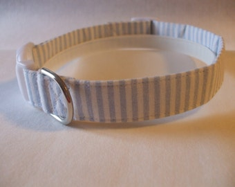 Handmade Cotton Dog Collar Blue and White Stripes