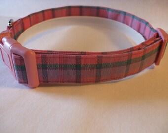 Handmade Cotton Dog Collar Pink Plaid