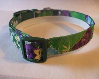 Handmade Cotton Dog Collar Green and Purple Tropical Floral Print
