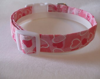 Handmade Cotton Dog Collar - Pink with White Hearts