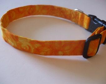 Handmade Cotton Dog Collar Bright Yellow and Orange Swirls or Flames