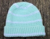 Hand Crocheted Light Green and White Baby Hat