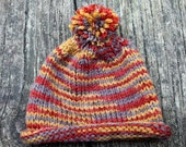 Handknit Autumn Colors Baby Hat with Pom Pom