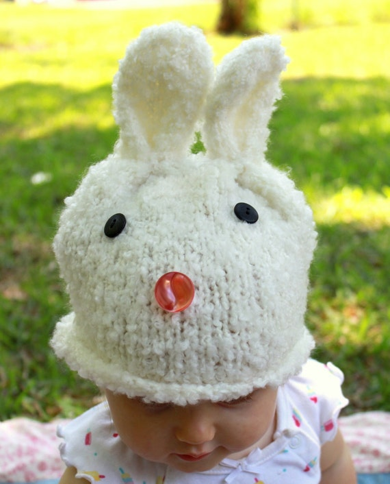 Handknit Fluffy Bunny Hat for Baby or Toddler