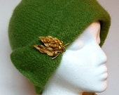 Knit Felted Cloche in Green - NOW ON SALE