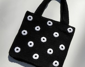 Crocheted Bag with Black and White Polka Dots