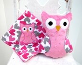Pink Gray Hearts Owl Gift Set -- Blanket and Stuffed Plush Owl -- Appliqued Baby Blankie