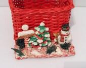 Vintage Red Wicker Woven Christmas Scene North Pole Snowman Basket