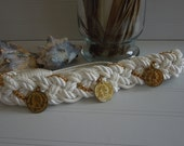 Vintage 1980s Braided Cinch Belt adorned with Gold Chains and Gold Coins