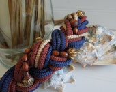 Vintage 1980s Braided Cinch Belt adorned with Wood and Metal Beads