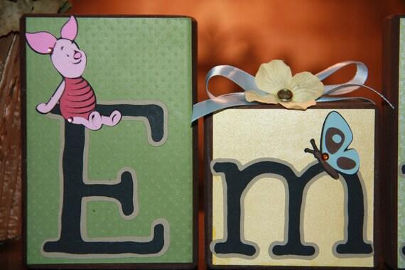 Custom Wooden Letter Blocks Set - Emma - Winnie The Pooh