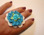 Crocheted Flower  Ring - Blue and White