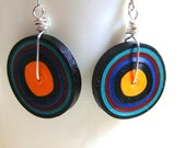 Disco-Retro Quilled Paper  Coil Earrings  by Rocio Toscano - Handmade Jewelry - Free Shipping USA