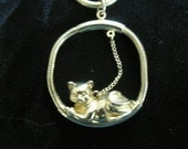 Cute Kitty Cat Necklace, Gold Tone