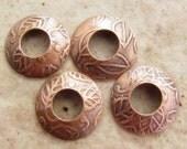 BHB Caps Etched Copper Leaves Pattern Bead Caps, 2 pair (4 caps), 13mm