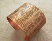 """Etched Copper Bracelet Cuff Night Music, 2"""" wide"""
